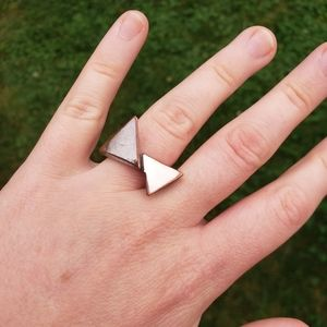 Vintage Geometric Silver Copper Triangles Ring